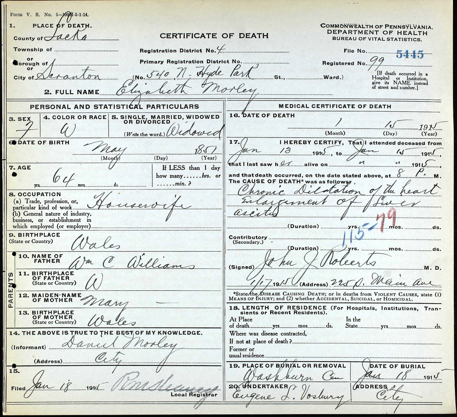 George hares 1834 1867 death certificate of elizabeth williams hares morley xflitez Image collections